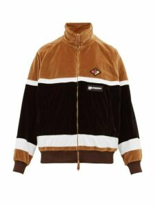 Burberry - Logo Patch Zip Through Velour Track Jacket - Mens - Beige