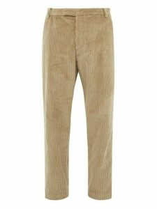 Deveaux - Cotton Corduroy Tapered Fit Trousers - Mens - Beige