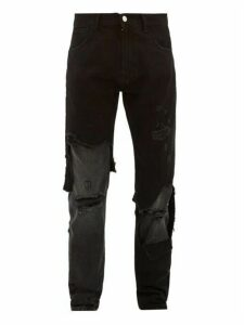 Raf Simons - Distressed Slim Leg Jeans - Mens - Black