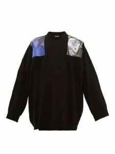 Raf Simons - Oversized Print Patch Wool Sweater - Mens - Navy