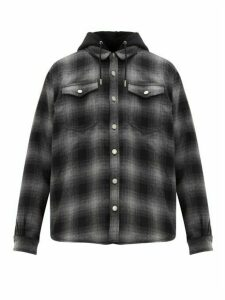 Eytys - Alpha Checked Flannel Hooded Overshirt - Mens - Black Grey
