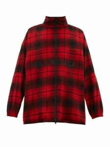 Balenciaga - Logo Embroidered Tartan Flannel Wool Blend Jacket - Mens - Red