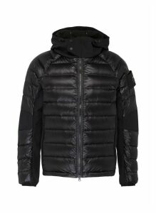 Contrast panel quilted padded unisex hooded down jacket