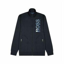 BOSS Navy Logo Jersey Sweatshirt