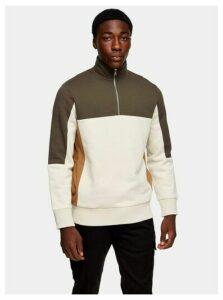Mens Multi Khaki And Ecru 1/4 Panelled Sweatshirt, Multi