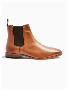 Mens Brown Tan Real Leather Fenn Chelsea Boots, Brown