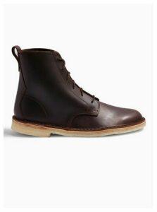 Mens Clarks Originals Brown Leather Desert Mali Boots, Brown