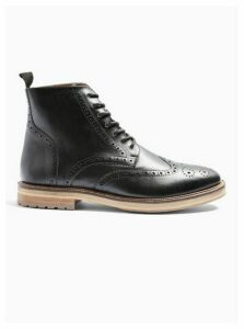 Mens Black Real Leather Orbis Brogue Boots, Black
