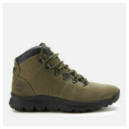 Timberland Men's World Hiker Mid Boots - Dark Green Nubuck - UK 11
