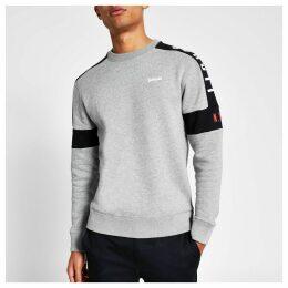 Mens River Island Schott Grey colour blocked sweatshirt
