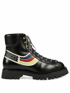 Gucci graphic print lace up boots - Black