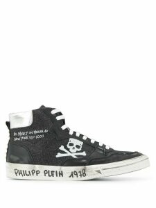 Philipp Plein Hi-Top Sneakers Skull - Black