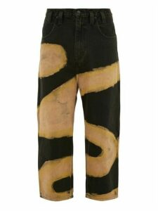 Eckhaus Latta - Cropped Bleached Wide Leg Jeans - Mens - Black Yellow