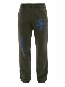 Off-white - Washed Effect Logo Print Sweat Pants - Mens - Black Blue