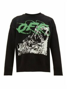 Off-white - Ruined Factory Jacquard Wool Blend Sweater - Mens - Black White