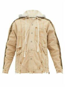 Greg Lauren - Distressed Canvas Hooded Work Jacket - Mens - Brown