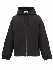 Raey - Zip Up Cotton Blend Hooded Sweatshirt - Mens - Black