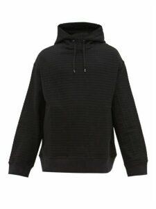 Raey - Seersucker Cotton Blend Hooded Sweatshirt - Mens - Black
