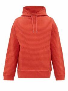 Raey - Seersucker Cotton-blend Hooded Sweatshirt - Mens - Orange