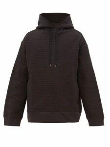 Raey - Seersucker Cotton Blend Hooded Sweatshirt - Mens - Navy