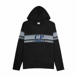 C.P. Company Black Logo Hooded Cotton Sweatshirt