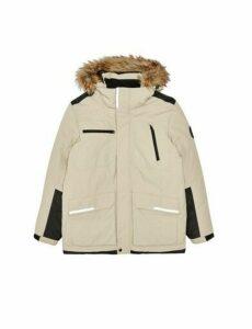 Mens Sand Contrast Panel Faux Fur-Trimmed Hooded Parka Jacket, Beige