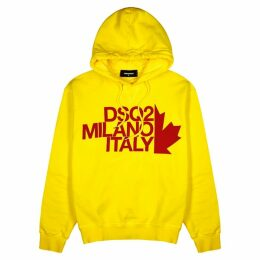 Dsquared2 Yellow Logo Hooded Cotton Sweatshirt