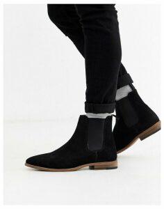 Topman suede Chelsea boot in black