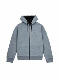 Mens Charcoal Borg Lined Zip Through Hoodie, CHARCOAL
