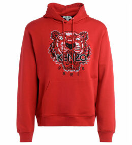 Red Kenzo Tigre Sweatshirt With Hood With Embroidered Front Logo