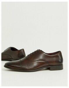 WALK London alfie toe cap oxford shoes in brown leather