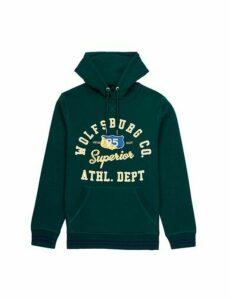 Mens Dark Green Collegiate Hoodie, MID GREEN