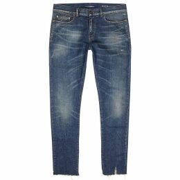 Saint Laurent Dark Blue Distressed Skinny Jeans