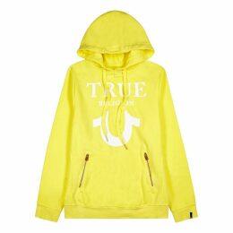 True Religion Yellow Logo Hooded Cotton-blend Sweatshirt