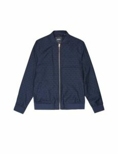 Mens Blue Jacquard Party Bomber Jacket, Blue