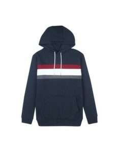 Mens Navy Cut And Sew Panel Hoodie, Blue