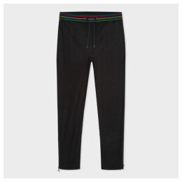 Men's Black Cotton-Blend Sweatpants With 'Sports Stripe' Trim