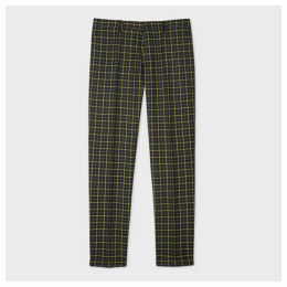 Men's Slim-Fit Black And Yellow Check Wool Trousers