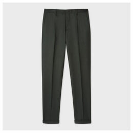 Men's Slim-Fit Dark Green Wool And Cashmere Trousers