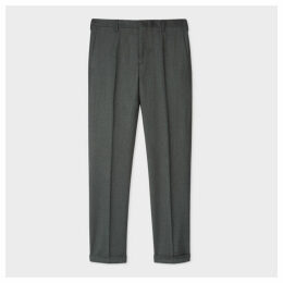 Men's Slim-Fit Green Over-Dye Wool-Cashmere Flannel Trousers