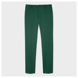 Men's Slim-Fit Green Wool-Blend Twill Trousers