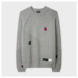 Men's Grey 'Patchwork' Chunky-Knit Wool-Blend Sweater