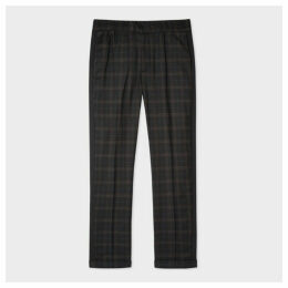 Men's Black Check Wool Drawstring Trousers