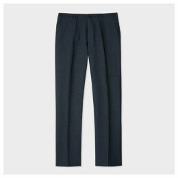 Men's Mid-Fit Black Zig-Zag Wool And Linen-Blend Trousers