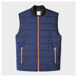 Men's Navy Quilted Gilet With 'Artist Stripe' Trims
