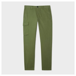 Men's Khaki Stripe Cotton-Stretch Cargo Trousers