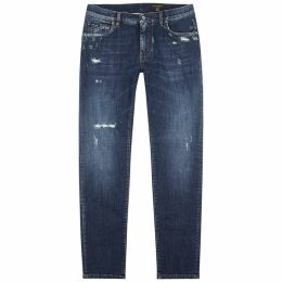 Dolce & Gabbana Blue Distressed Slim-leg Jeans