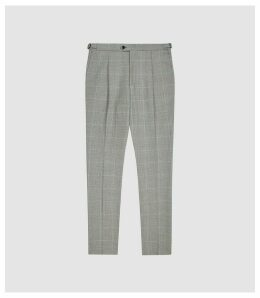 Reiss Atrium - Checked Slim Fit Trousers in Grey, Mens, Size 38
