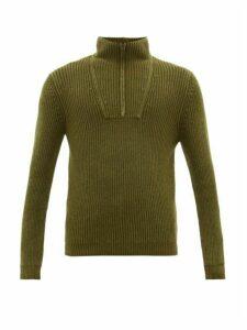 Iris Von Arnim - Milan Stonewashed Zip-neck Cashmere Sweater - Mens - Green