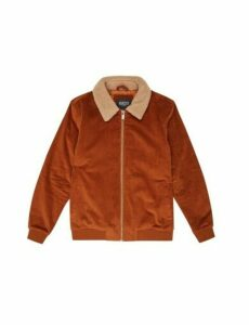 Mens Tan Cord Borg Collar Bomber Jacket, TAN